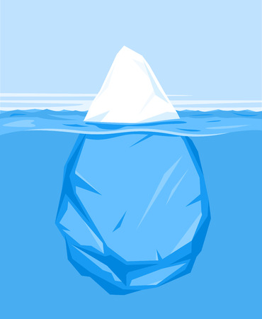 One full big iceberg in the sea, flat style illustration