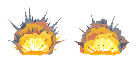 Set of two big cartoon bomb explosion on ground with shrapnel and fireball, isolated on white, bright fiery explosion with yellow clubs of smoke on horizontal surface