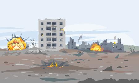 Illustrazione del fondo del paesaggio del concetto di città distrutta, edificio tra le rovine e il cemento con esplosioni di bombe, panorama di distruzione di guerra