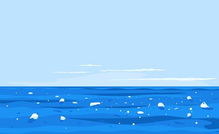 Agua contaminada de basura plástica, basura en la ilustración del concepto de desastre ecológico de agua de mar, contaminación ambiental, basura en el fondo del paisaje de agua de mar