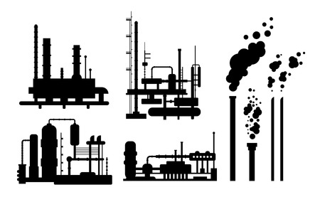 Set of industrial factory buildings silhouettes isolated, manufacturing with metallic constructions, smoking pipes, environmental pollution Illustration