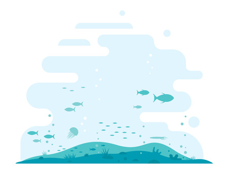 Underwater ocean floor silhouette with different plants and fishes in simple colors and flat style, isolated