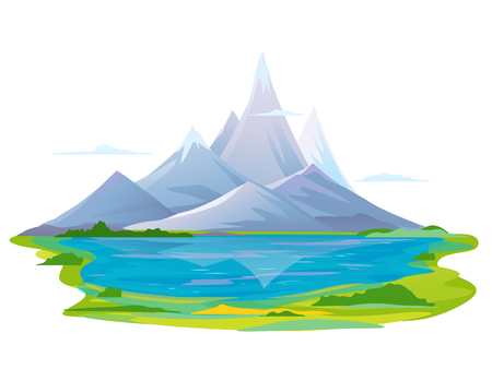 Lake in the picturesque valley near the high mountains with sharp peaks and green piedmont, nature landscape, travel illustration isolated