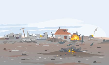 Illustrazione del fondo del paesaggio del concetto di villaggio distrutto, edificio tra le rovine e il cemento, panorama di distruzione della guerra