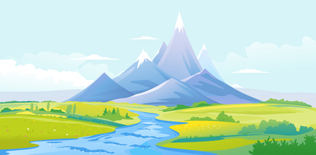 Twisty river in the picturesque valley flows out of the high mountains with sharp peaks and green piedmont, nature landscape, travel landscape illustration