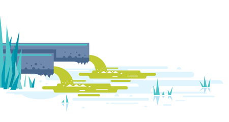 Water pollution from industrial pipes concept illustration in flat style isolated, two pipes drain the waste water into river, ecological disaster, dirty toxic effluents, environmental pollution  イラスト・ベクター素材