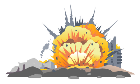 Big bombs explosion with shrapnel and fireball in city, destroyed buildings ruins and concrete, war destruction concept illustration isolated on white background