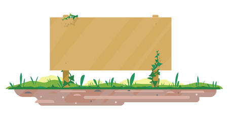 One big empty wooden board standing on ground with green grass in flat style isolated, board template for spring and summer text information Illustration