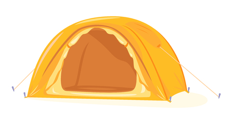 Modern oval orange tourist tent standing with open door isolated, camping equipment travel illustration