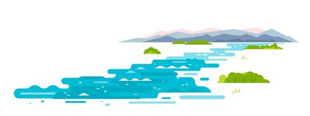 Il fiume serpeggiante scorre dalle montagne, avvolge gli arbusti, campiona forme geometriche, illustrazione piatta su sfondo bianco