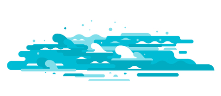 Simple waves of water in flat style isolated