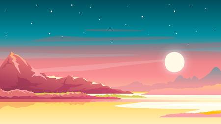 Coucher de soleil sur fond de paysage nature montagnes, soleil près de la grande montagne rouge et étoiles sur le ciel