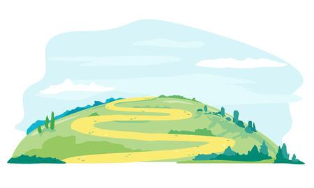 Camino sinuoso en la colina verde en día de verano, césped verde con paisaje de naturaleza de camino arenoso, rutas turísticas, ilustración de viaje aislado Ilustración de vector
