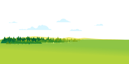 Panorama of spruce forest landscape background in simple geometric form, wildlife panorama of nature in summer day with blue clouds, hills and forest far away on the horizon Иллюстрация