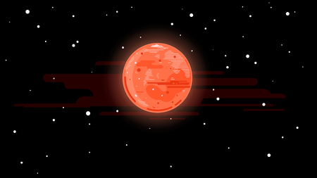 One full red planet Mars in space, space exploration and colonize illustration background in flat style with lines, Martian polar ice cap and glacier, simplify space background in lines stylization