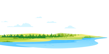 Panorama of spruce forest landscape background near the river in simple geometric form, wildlife panorama of nature in summer day with blue clouds, hills and forest far away on the horizon  イラスト・ベクター素材