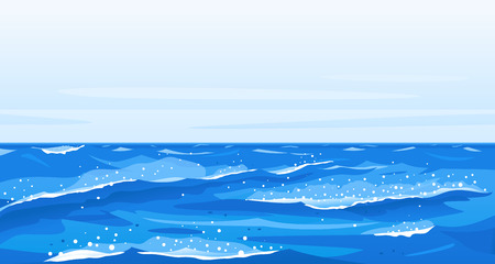 Ocean waves nature background illustration, sea waves in windy cool weather with splashes and foam, panorama of open deep sea ocean, storm waves in world ocean