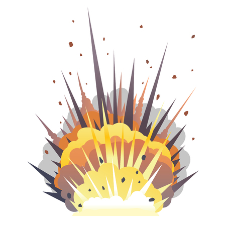 Big cartoon bomb explosion on ground with shrapnel and fireball, isolated on white, bright fiery explosion with yellow clubs of smoke on horizontal surface