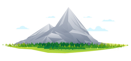 High mountain with spruce forest in simple geometric form, nature tourism landscape illustration isolated Illustration