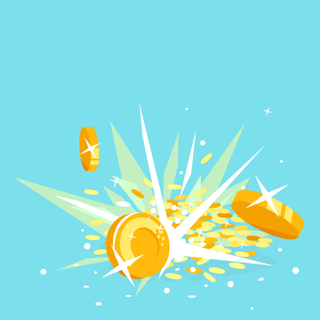 Gold coins explosion concept illustration in flat style, treasure of gold wealth with bright lights, coins scatter in different directions