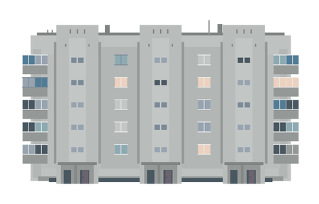 One five-story eastern european building in front view isolated, old soviet building architecture flat style Illustration