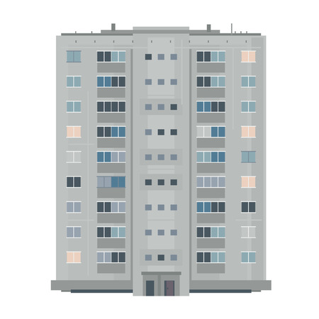 One nine-story eastern european building in front view isolated, old soviet building architecture flat style