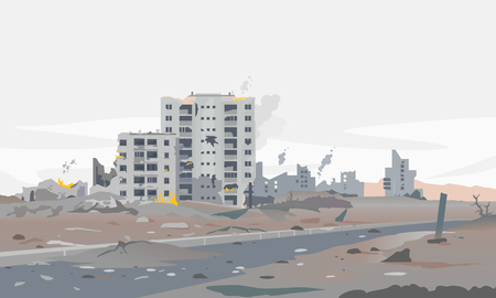 Destroyed city concept landscape background illustration, building between the ruins and concrete, war destruction panorama, city quarter after earthquake, destroyed residential neighborhood Stockfoto - 122680481