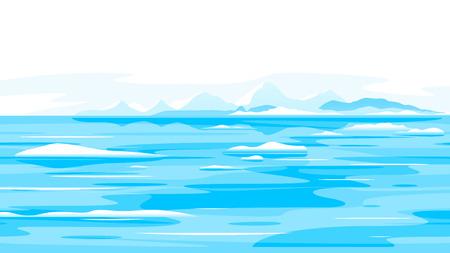 Muchos pequeños fragmentos de icebergs en el agua del océano, el derretimiento del paisaje de ilustración de la naturaleza de los glaciares, el concepto de cambio climático global, el paisaje oceánico congelado con icebergs