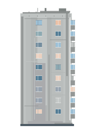 One nine-story eastern european building in side view isolated, old soviet building architecture flat style Illustration
