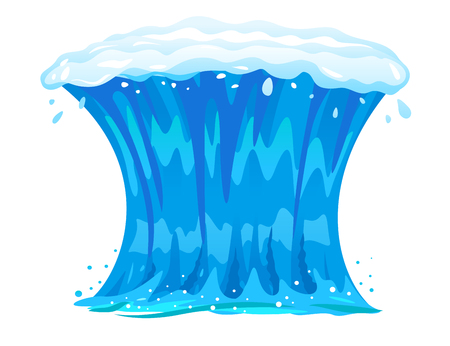 One big blue ocean wave in front view isolated, wonderful surfing wave illustration