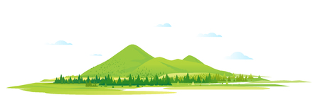 Mountain valley with spruce forest around, nature tourism landscape illustration isolated