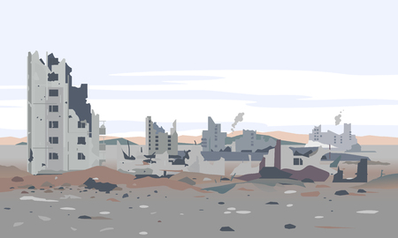 Destroyed city concept landscape background illustration, building between the ruins and concrete, war destruction panorama, city quarter after earthquake Stock Illustratie