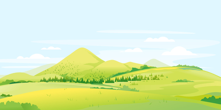 Panorama von Feldern und Wiesen mit Fichtenwald um das Bergtal, Sommerlandschaft mit grünen Hügeln, sonnige Lichtungen im Sommer