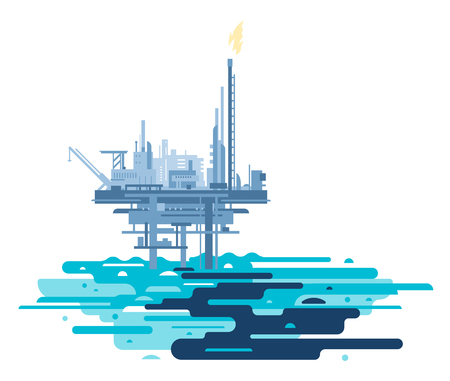 Ocean pollution with crude oil from oil platform, oil in sea water ecological disaster concept illustration, environmental pollution, extraction of oil and gas from the sea shelf
