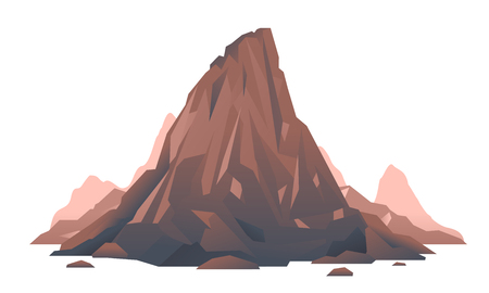Old brown mountain isolated illustration, extinct volcano, stone rock with debris and stones