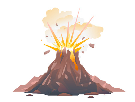 One big brown volcano with explosion and smoke, volcano eruption of orange lava flows down the hill and stones flying in the air, isolated