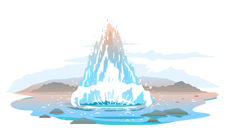 Hot water steam spraying out from under the ground, rare natural phenomena geyser activity illustration, interesting tourist places