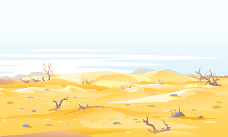 Desert landscape with dead trees and shrubs around big sand dunes in sunny day, arid deserted place without water and without plants, sand dunes to the horizon
