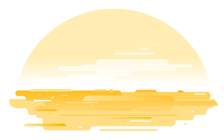 Sand surface with orange dusty sky, arid deserted place without water and without plants, ecological drought concept illustration isolated