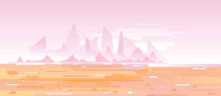 Fantastic planet surface with high sharp mountains far from the pink sky in desert, futuristic surrealism landscape background in flat style with simple lines Vettoriali