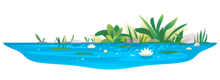 Small blue decorative pond with white water lilies, bulrush plants, stones around and fishes, water reservoir for landscape design isolated on white