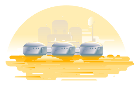 Three metallic capsules on the Maps planet in flat style isolated, martian landscape with sand and Martian colony, colonization concept illustration