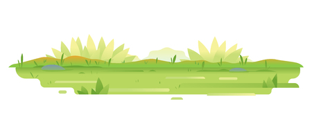 Green lawn with grass and plants in flat style isolated, composition of plants on the sunny lawn