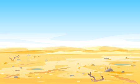 Desert landscape with dead trees and shrubs at the bottom of the dry river, arid deserted place without water and without plants, sand dunes to the horizon 스톡 콘텐츠 - 120658370