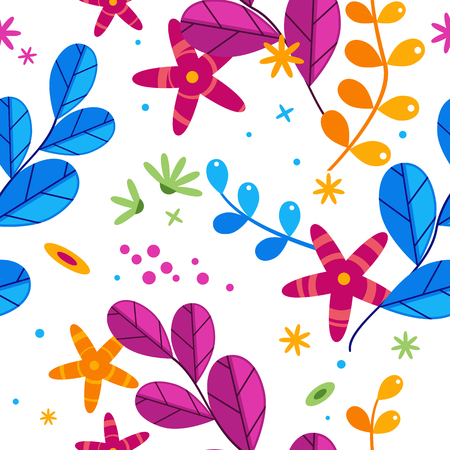 Floral simplify vector pattern with flowers and plants in different colors on white background, blue and purple leaves with orange flowers decoration in saturated shades Vettoriali