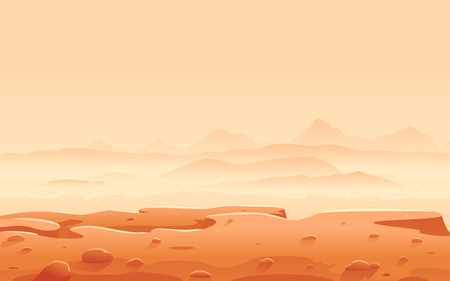 View from the edge of the rock to the valley of Mars with mountain peaks and hills, sand hills with stones on a deserted planet, space colonization panorama, landscape of Mars planet Ilustrace