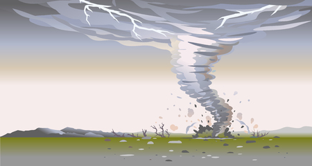Tornado with spiral twists destroys all around in wild nature, the power of nature landscape background, dark sky with lightning 写真素材 - 122680775