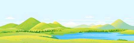 Big panorama of fields and meadows with spruce forest around mountain lake in valley, summer countryside with green hills and river, summer sunny glades illustration 向量圖像