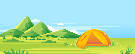 Modern oval orange tourist tent standing on green grass near the high mountains in sunny day, camping travel concept illustration background