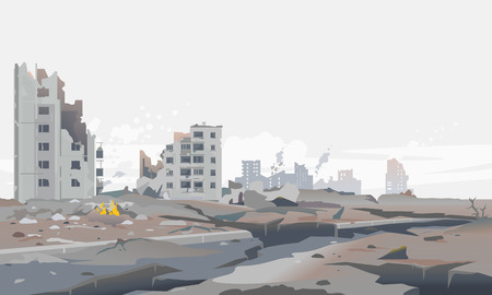 Destroyed city concept landscape background illustration, building between the ruins and concrete after earthquake with large cracks around, destruction panorama of residential neighborhood